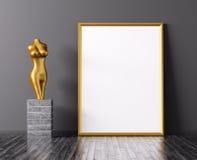 Золотой перевод рамки и статуи 3d иллюстрация штока