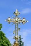 Золотой правоверный христианский крест Стоковая Фотография RF