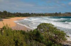 Золотой пляж песка на Кауаи Стоковые Изображения RF