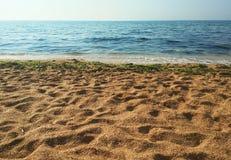 Золотой пляж, песок, Крым, чернота видит Стоковые Фото