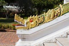 Золотой дракон на королевском дворце, prabang luang стоковые изображения rf