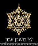 Золотой роскошный шкентель, звезда Дэвида с богатыми филигранными орнаментами и жемчуга, изолированная драгоценность, историческо иллюстрация вектора