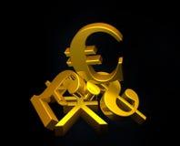 Золотой символ евро валюты поднимая над кучей фунта, доллара США, иены иллюстрация вектора