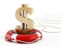 Золотой символ доллара на спасательном поясе иллюстрация 3d иллюстрация штока