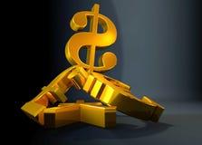 Золотой символ доллара США валюты поднимая над кучей фунта, евро, иены иллюстрация штока