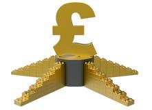 Золотой символ фунта на подиуме Стоковые Изображения