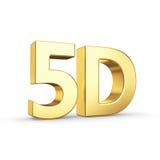 Золотой символ 5D изолированный на белизне Стоковое Изображение