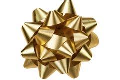 Золотой смычок изолированный на белизне стоковые фото