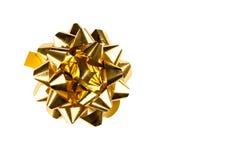 Золотой смычок подарка Стоковая Фотография