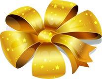 Золотой смычок с звездами Стоковое Изображение