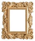 Золотой стиль барокко картинной рамки Винтажный объект искусства Стоковые Изображения