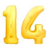 Золотой 14 14 сделал из раздувного воздушного шара Стоковая Фотография RF