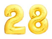 Золотой 28 28 сделал из раздувного воздушного шара Стоковые Фотографии RF