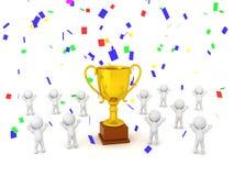 золотой трофей 3D с Confetti и много характеров 3D Стоковые Фотографии RF