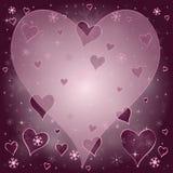 Золотой фиолетовый снег играет главные роли сердца Стоковое Фото