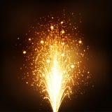 Золотой фонтан вулкана фейерверка - Новые Годы Eve Стоковая Фотография RF