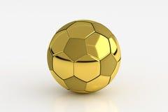 Золотой футбольный мяч изолированный на белизне, переводе 3D Стоковое Фото