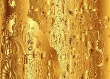 Золотой флористический винтажный вектор картины Стоковое Изображение RF