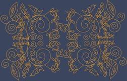 Золотой флористический орнамент на голубой предпосылке Стоковые Изображения