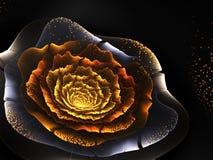 Золотой цветок фрактали с цветнем Стоковые Изображения RF