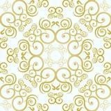 Золотой цветочный узор на белой предпосылке Стоковое Изображение RF