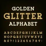 Золотой шрифт вектора алфавита яркого блеска Стоковые Изображения RF