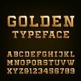 Золотой шрифт вектора алфавита Стоковое Фото