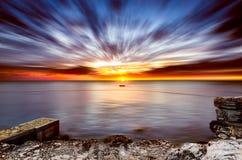 Золотой seascape часа Стоковая Фотография