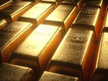 Золото в слитках 1000 граммов Стоковое Фото