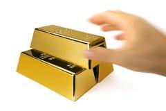 Золото в слитках и финансовая концепция стоковые фотографии rf