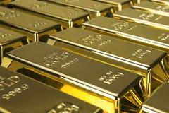 Золото в слитках и финансовая концепция Стоковое Фото