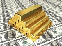 Золото в слитках на долларе иллюстрация вектора