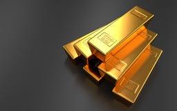 Золото в слитках на черных предпосылках стоковая фотография rf