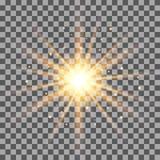Золото излучает световой эффект на прозрачной предпосылке иллюстрация штока