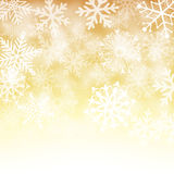 Золото и белая предпосылка снежинки Стоковые Фото