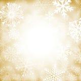 Золото и белая предпосылка снежинки Стоковая Фотография RF