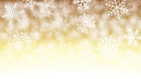 Золото и белая предпосылка снежинки Стоковое фото RF