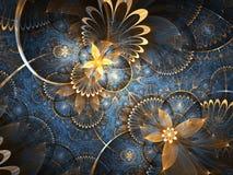 Золото и голубой цветочный узор фрактали Стоковые Изображения