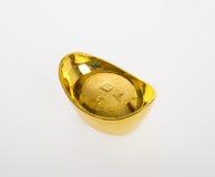 Золото или китайские символы середины золотого ингота богатства и процветания Стоковые Изображения RF