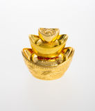 Золото или китайские символы середины золотого ингота богатства и процветания Стоковое Изображение RF
