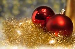 Золото и красное украшение рождества Стоковое фото RF