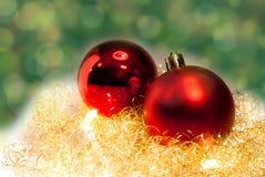 Золото и красное украшение рождества Стоковые Фото