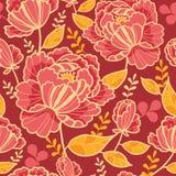 Золото и предпосылка картины цветков красного цвета безшовная Стоковое Изображение RF