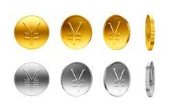 Золото и серебряные монеты с знаком японских иен Стоковое Изображение