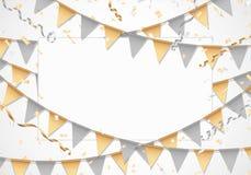 Золото и серебр party предпосылка с белой доской Стоковое Фото