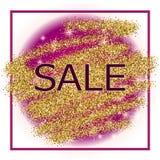 Золото и фиолетовая предпосылка продажи в рамке Стоковые Фотографии RF