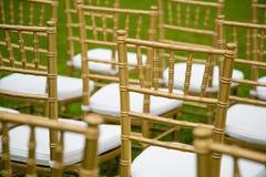 Золото и whiteChairs для свадебной церемонии стоковое изображение