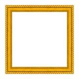 Золото картинной рамки изолированное на белой предпосылке Стоковые Фото