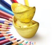 2 золото, Новый Год Стоковое Изображение RF