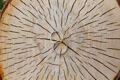 Золото обручальных колец белое на деревянной предпосылке Стоковое Изображение RF